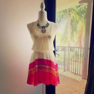 Fun summer dress (White, Pink, Orange)
